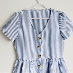 Striped Blue and White Button-up Dress